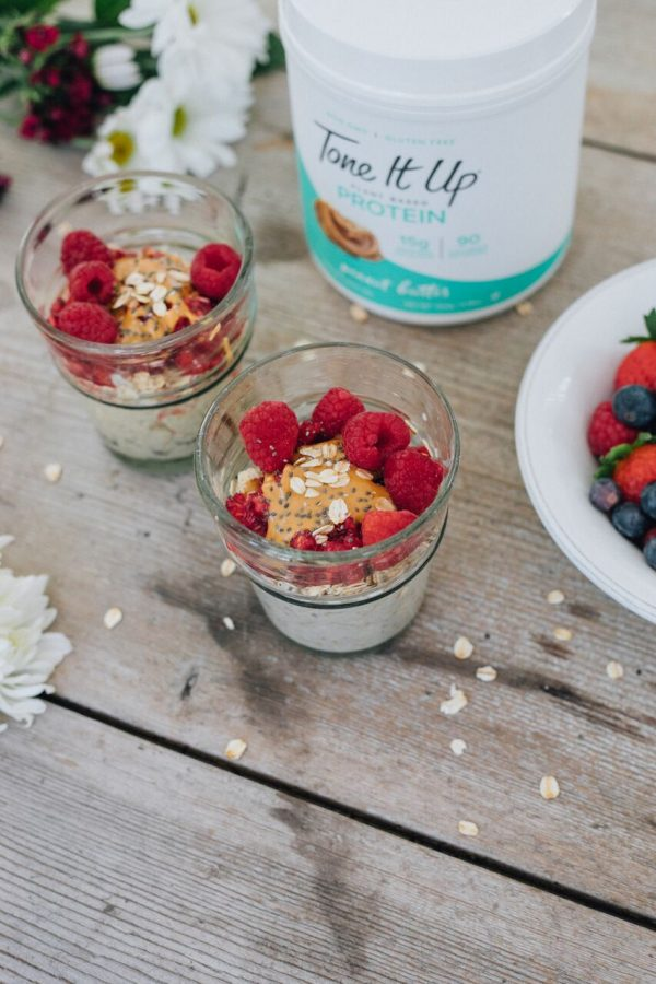 Tone It Up is celebrating National Peanut Butter Lover's day with healthy, delicious recipes made with Peanut Butter Tone It Up Protein. These Peanut Butter Overnight Oats are so easy.