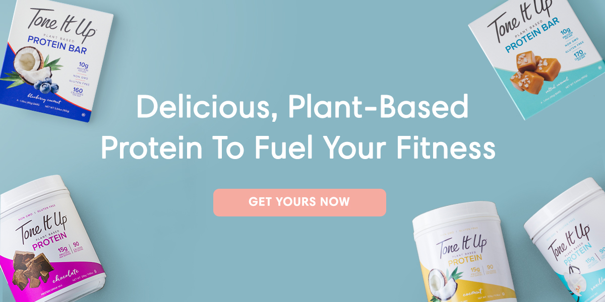 Tone It Up protein powders, protein shakes, bites, and bars deliver clean, plant-based, gluten-free, vegan protein to fuel your fitness.