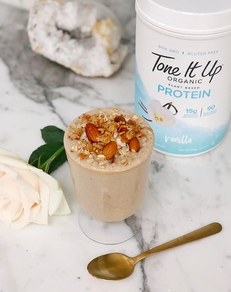 Healthy smoothie for new moms with Tone It Up Protein