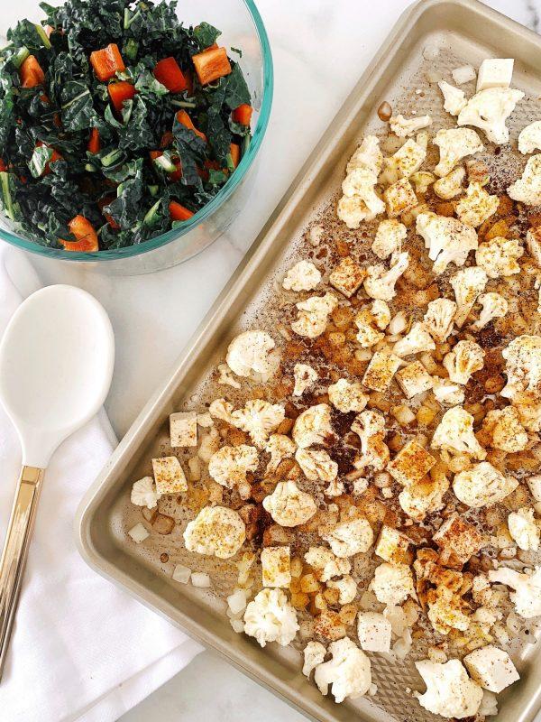 Faux-lafel tray bake recipe