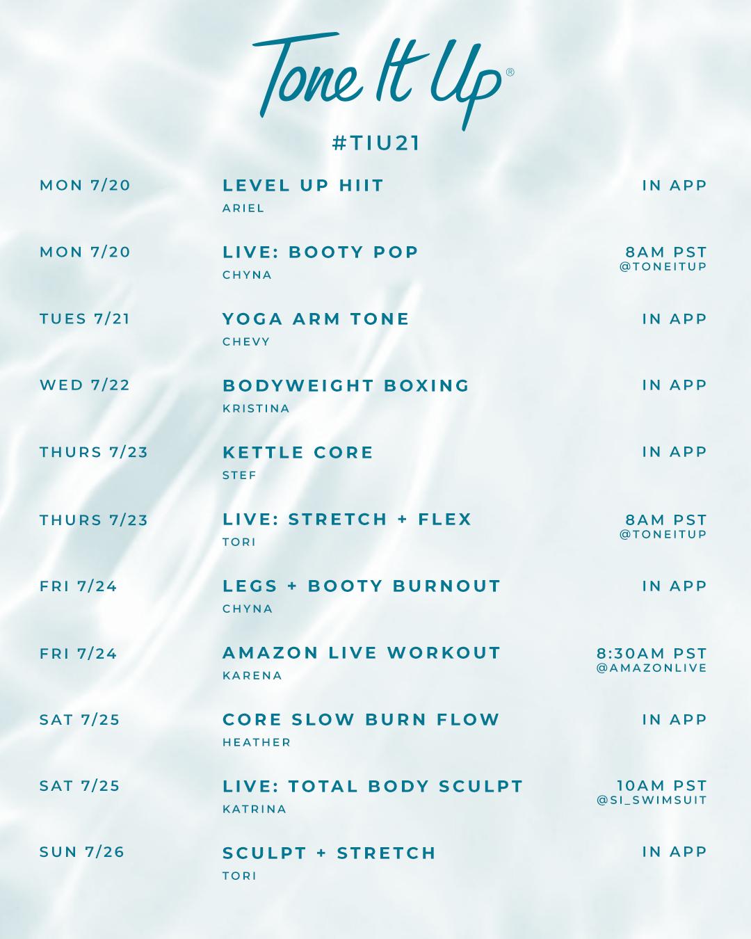 TIU21 Week 2 Weekly Workout Schedule