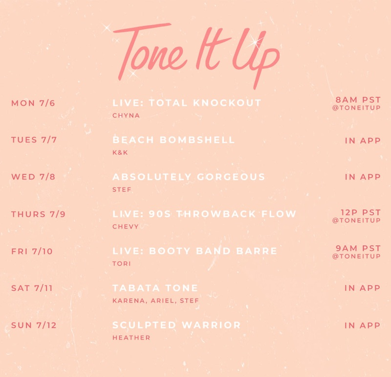 Weekly Workout Schedule July 6 Tone It Up
